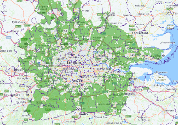 Map Around London.Map Showing The Green Belt Around London